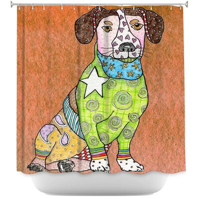 Jack Russell Dog Shower Curtain Color: Red/Blue