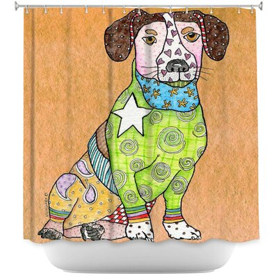 Jack Russell Dog Shower Curtain Color: Brown/Blue