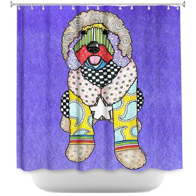 Labradoodle Dog Shower Curtain Color: Red/Purple
