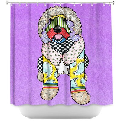 Labradoodle Dog Shower Curtain Color: Red/Light Purple