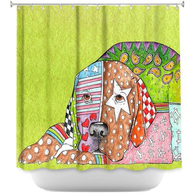 Labrador Retriever Dog Shower Curtain Color: Green