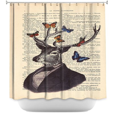 Deer Portrait Butterflies Shower Curtain
