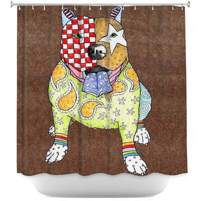 Pitbull Dog Light Shower Curtain Color: Brown