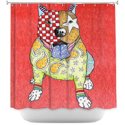 Pitbull Dog Light Shower Curtain Color: Red