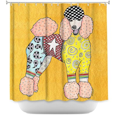Poodle Dog Shower Curtain Color: Black/Gold