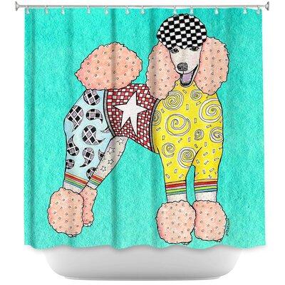 Poodle Dog Shower Curtain Color: Orange/Black