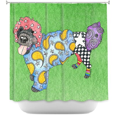 Portuguese Water Dog Shower Curtain Color: Silver/Black