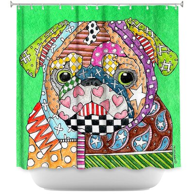 Pug Dog Kelly Shower Curtain Color: Green