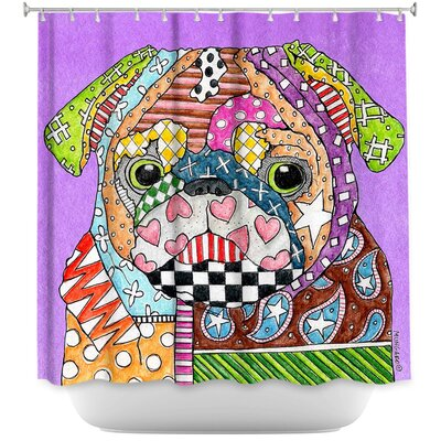 Pug Dog Kelly Shower Curtain Color: Purple