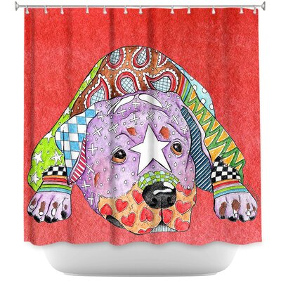 Rottweiler Dog Shower Curtain Color: Red