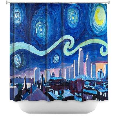 Starry Night Boston Skyline Shower Curtain