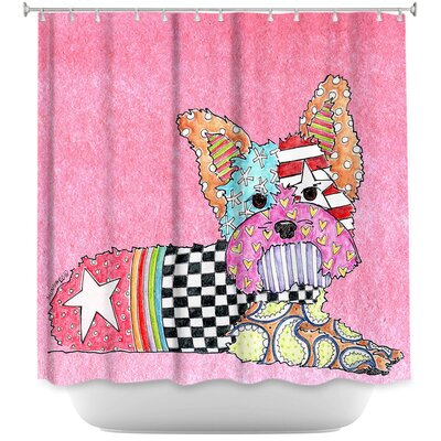 Yorkie Dog Light Shower Curtain Color: Pink