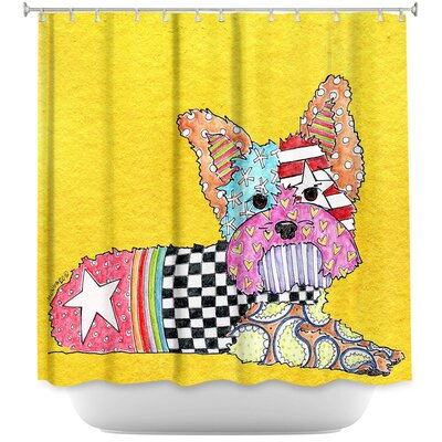 Yorkie Dog Light Shower Curtain Color: Yellow
