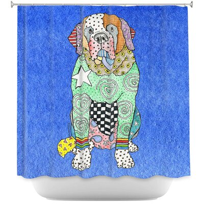 Saint Bernard Shower Curtain Color: Blue