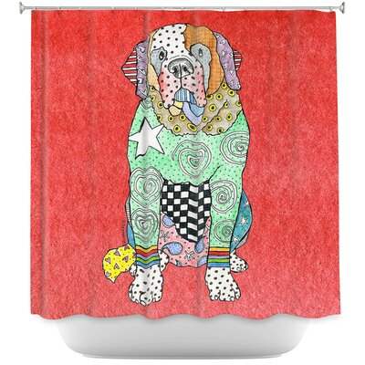 Saint Bernard Shower Curtain Color: Red