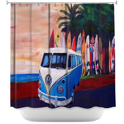 VW Bus Surfing 2 Shower Curtain