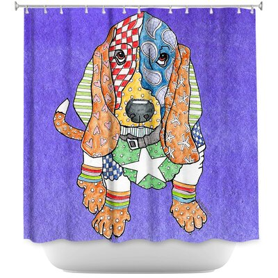 Basset Hound Dog Shower Curtain Color: Purple