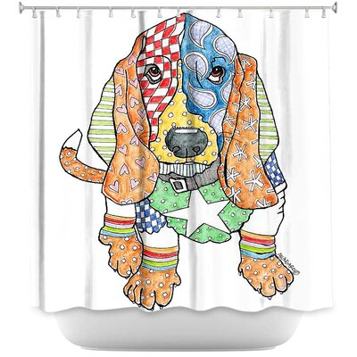 Basset Hound Dog Shower Curtain Color: White