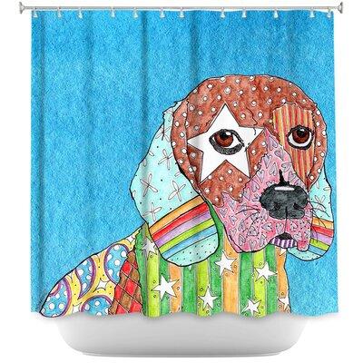 Beagle Dog Shower Curtain Color: Purple