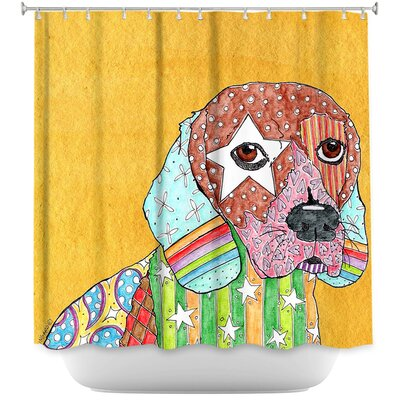 Beagle Dog Shower Curtain Color: White