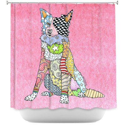 Border Collie Light Shower Curtain Color: Pink