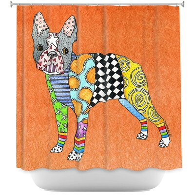 Boston Terrier Shower Curtain Color: Orange