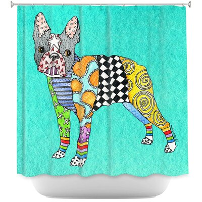 Boston Terrier Shower Curtain Color: Blue