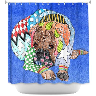 Boxer Dog Shower Curtain Color: Blue