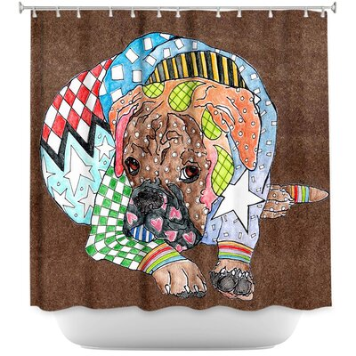 Boxer Dog Shower Curtain Color: Brown