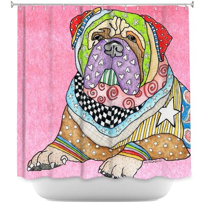 Bull Mastiff Dog Shower Curtain Color: Pink