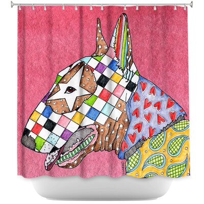 Bull Terrier Dog Shower Curtain Color: Pink