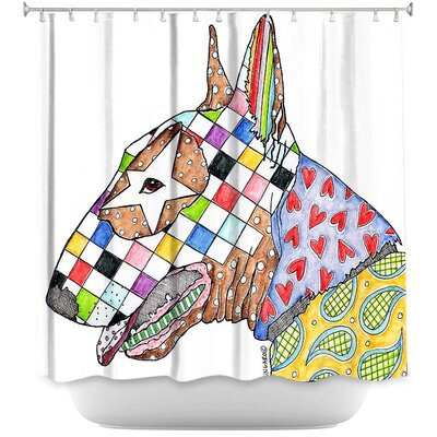 Bull Terrier Dog Shower Curtain Color: White