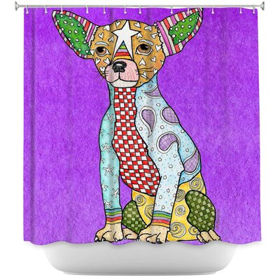 Chihuahua Dog Shower Curtain Color: Purple