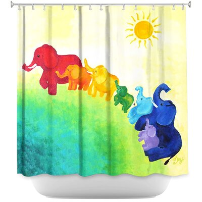 Lacey Elephant Rainbow Shower Curtain
