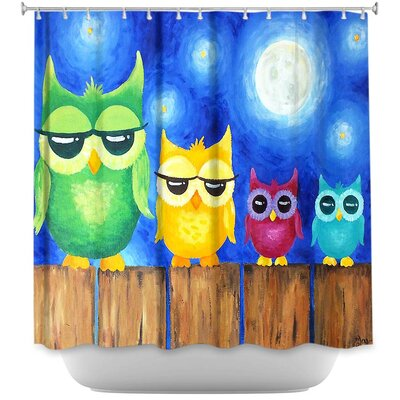 Holter Owls on a Fence Shower Curtain