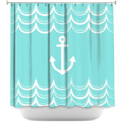 Anchor Waves Shower Curtain Color: Yellow/Green