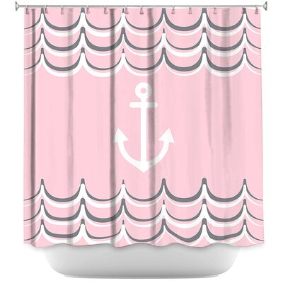 Anchor Waves Shower Curtain Color: Blue/Yellow
