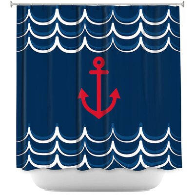 Anchor Waves Shower Curtain Color: Pink/Yellow