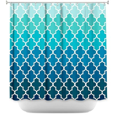 Lucchesi Aqua Ombre Quatrefoil Shower Curtain