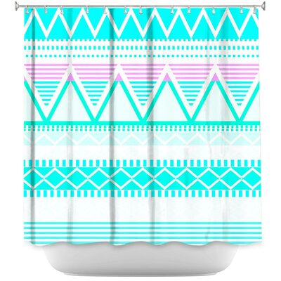 Bright Tribal Shower Curtain Color: Blue/Green