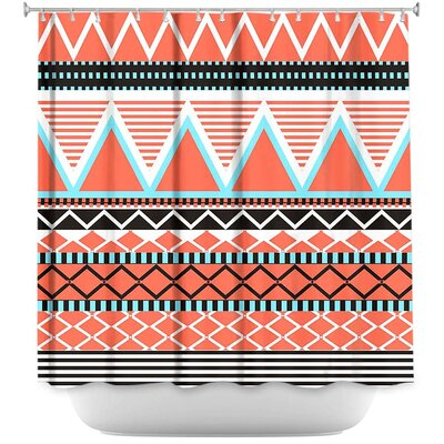 Bright Tribal Shower Curtain Color: Pitch/Blue