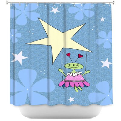 Space Girls Swing Shower Curtain Color: Pink/Blue