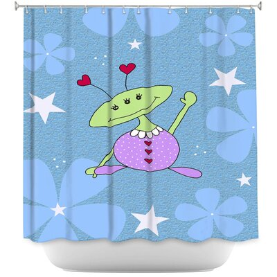 Space Girls Wave Shower Curtain Color: Purple/Blue