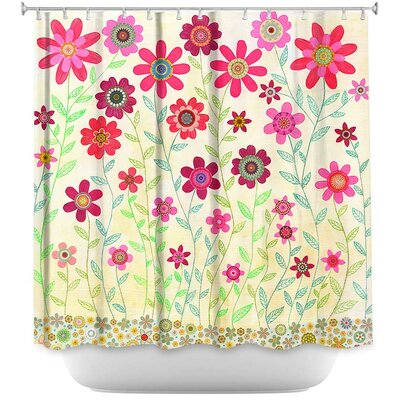 Retro Flowers Shower Curtain