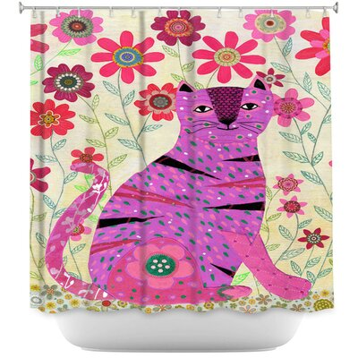 Retro Flowers Cat Shower Curtain
