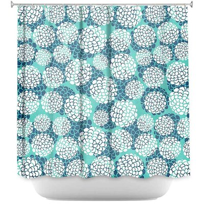 Lugo Aqua Floral Blossoms Shower Curtain
