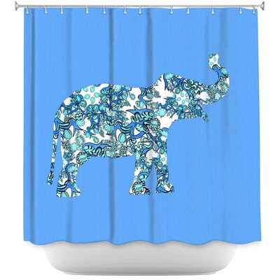 Lacey Elephant II Ribbons Shower Curtain Color: Blue/White