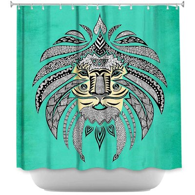 Emperor Tribal Lion Turquesa Shower Curtain