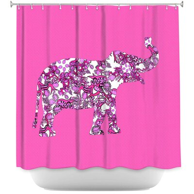 Lacey Elephant II Ribbons Shower Curtain Color: Pink/White
