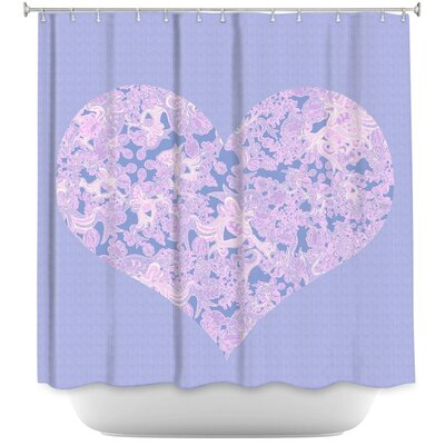 Heart Love Serenity Shower Curtain Color: Purple